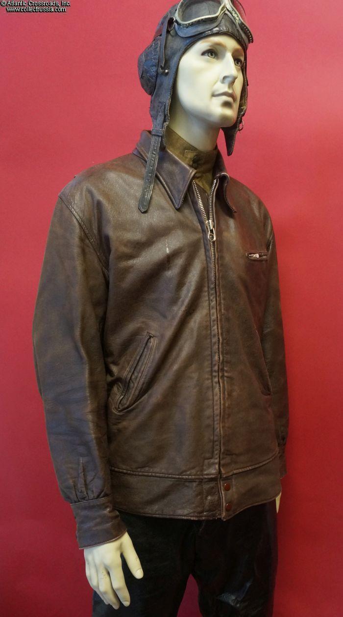 012f39524 Military Aviator's Leather Flight Jacket, circa mid 1940s - early 50s.